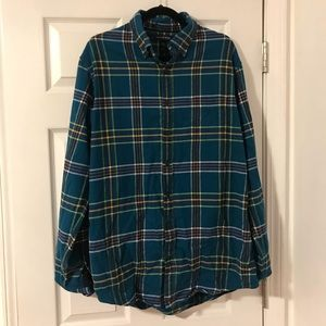 Lands End Blue/Green/Yellow Flannel Size L 16-16.5